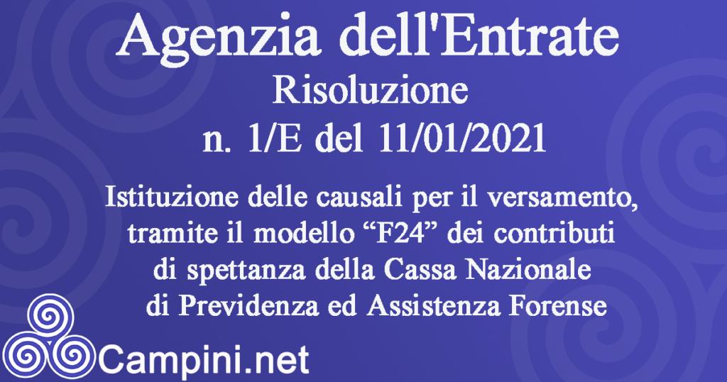 Agenzia dell'Entrate Risoluzione n.1/E del 11/01/2021