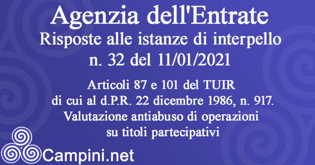 Articoli 87 e 101 del TUIR di cui al d.P.R. 22 dicembre 1986, n. 917.Valutazione antiabuso di operazioni su titoli partecipativi