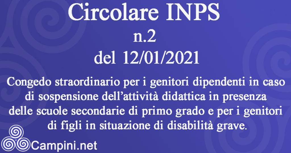 Circolare INPS n.2 del 12/01/2021