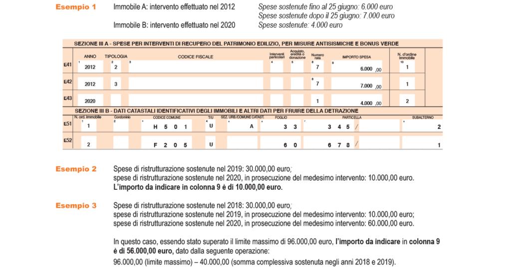 La detrazione d'imposta che verrà calcolata da chi presta l'assistenza fiscale è pari al: 50 per cento per le spese sostenute dal 26 giugno 2012 fino al 31 dicembre 2020, per alcuni interventi (antisismici e di recupero e re- stauro delle facciate) è possibile fruire di una maggiore detrazione; 36 per cento per le spese sostenute: a) dal 2008 al 2011; b) dal 1° gennaio al 25 giugno 2012.    La detrazione viene ripartita in 10 rate di pari importo da chi presta l'assistenza fiscale. La spesa su cui applicare la percentuale non può superare il limite di: 48.000 euro per le spese sostenute dal 2008 al 25 giugno 2012; 96.000 euro per le spese sostenute dal 26 giugno 2012 al 31 dicembre 2020. Il limite va riferito alla singola unità immobiliare sulla quale sono stati effettuati i lavori. Quindi, se più persone hanno diritto alla detrazione (comproprietari ecc.), il limite va ripartito tra loro. Per l'anno 2012, la detrazione del 50 per cento spetta per le spese sostenute dal 26 giugno al 31 dicembre nel limite di 96.000 euro, al netto delle spese sostenute fino al 25 giugno 2012 nel limite di 48.000 euro. Se gli interventi consistono nella prosecuzione di lavori iniziati negli anni precedenti sulla stessa unità immobiliare, per determinare il limite massimo delle spese detraibili occorre tenere conto di quelle già sostenute negli anni passati. In particolare, nel caso di interventi iniziati prima del 26 giugno 2012 e proseguiti negli anni successivi, la detrazione del 50 per cento spetta per le spese sostenute dal 26 giugno 2012 al 31 dicembre 2020 nel limite di 96.000 euro, al netto delle spese sostenute fino al 25 giugno 2012 nel limite di 48.000 euro. In caso di vendita o di donazione dell'unità immobiliare sulla quale sono stati realizzati gli interventi prima che sia trascorso il periodo di godimento della detrazione, le quote di detrazione non utilizzate sono trasferite, salvo diverso accordo delle parti, all'acquirente perso- na fisica o al donatario. In caso di m