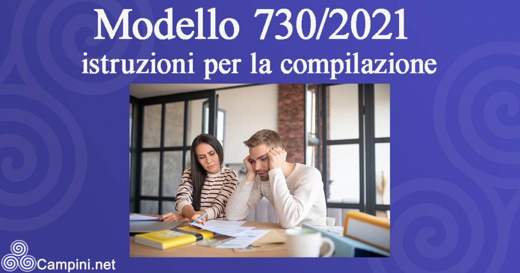 Modello 730/2021 istruzioni per la compilazione