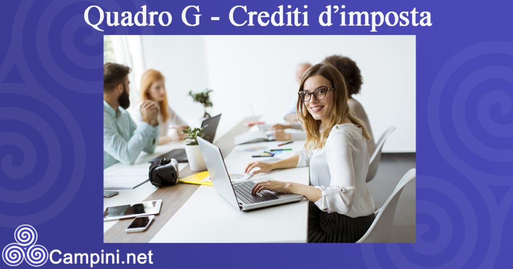 Quadro G - Crediti d'imposta