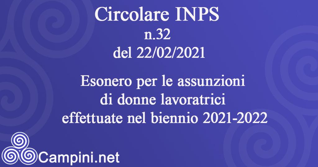 Circolare INPS n.32 del 22/02/2021