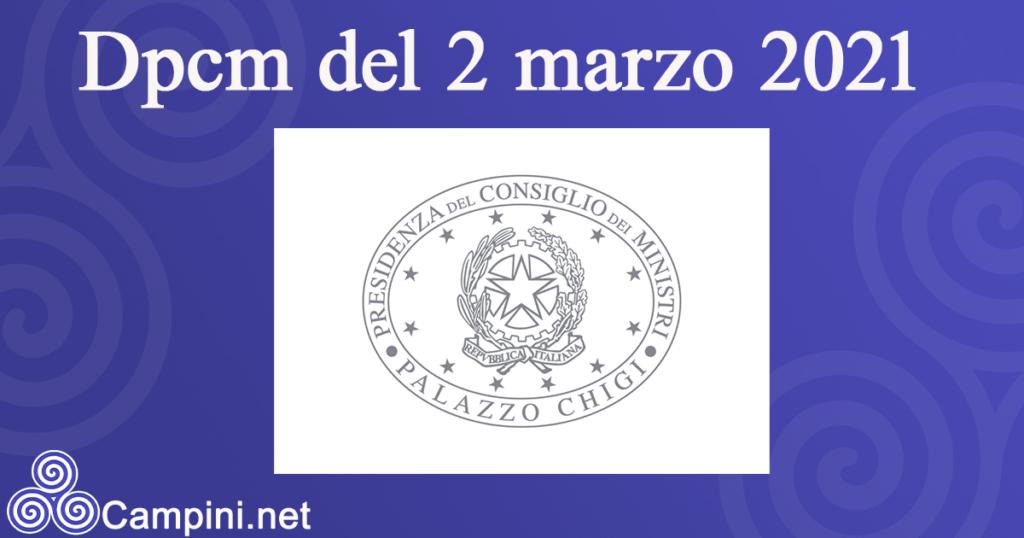 Dpcm 2 marzo 2021