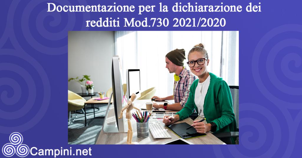 Documentazione per la dichiarazione dei redditi Mod.730 2021/2020